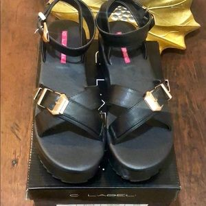 *NIB C Label Black Platform Sandals Size 10